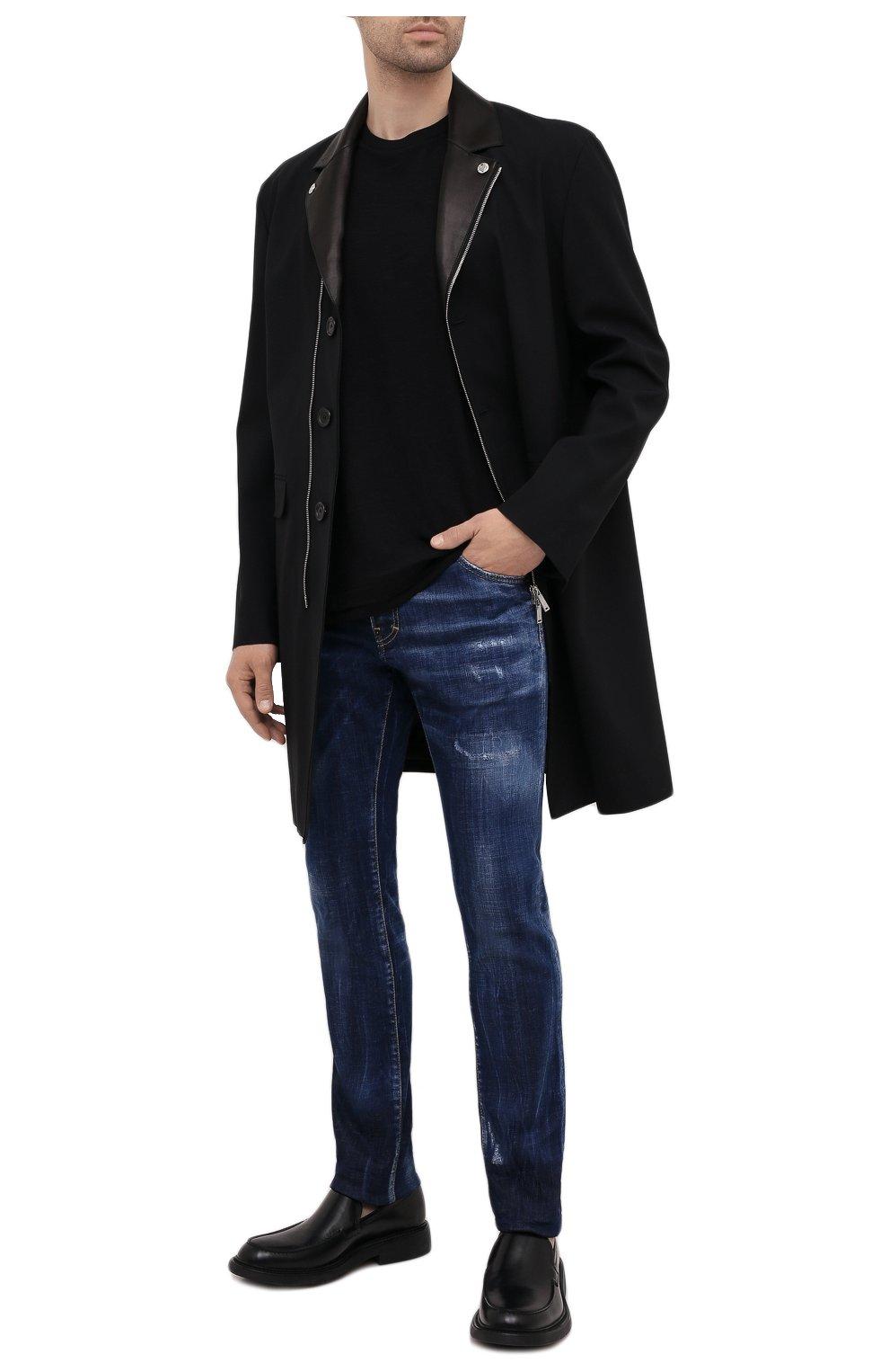 Мужские джинсы DSQUARED2 синего цвета, арт. S74LB1011/S30342 | Фото 2 (Силуэт М (брюки): Узкие; Кросс-КТ: Деним; Длина (брюки, джинсы): Стандартные; Стили: Гранж; Материал внешний: Хлопок; Детали: Потертости)