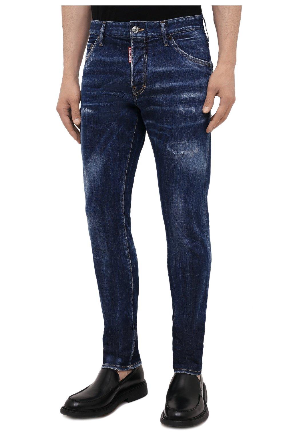 Мужские джинсы DSQUARED2 синего цвета, арт. S74LB1011/S30342 | Фото 3 (Силуэт М (брюки): Узкие; Кросс-КТ: Деним; Длина (брюки, джинсы): Стандартные; Стили: Гранж; Материал внешний: Хлопок; Детали: Потертости)