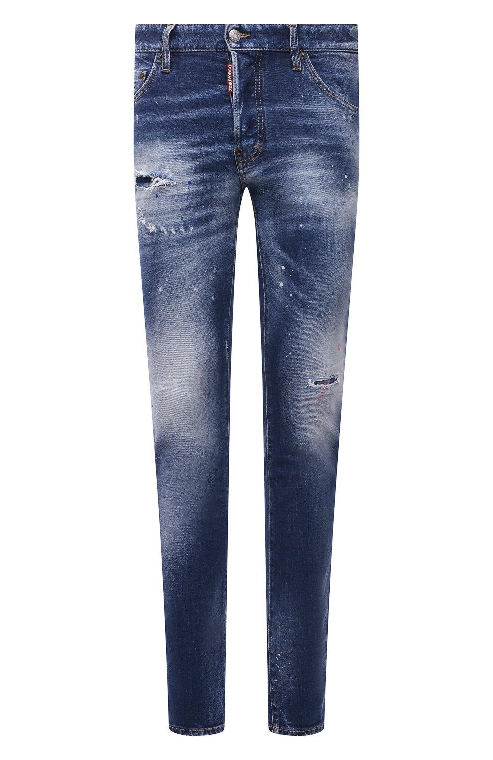 Мужские джинсы DSQUARED2 синего цвета, арт. S74LB1016/S30663   Фото 1 (Силуэт М (брюки): Узкие; Кросс-КТ: Деним; Длина (брюки, джинсы): Стандартные; Стили: Гранж; Материал внешний: Хлопок; Детали: Потертости)