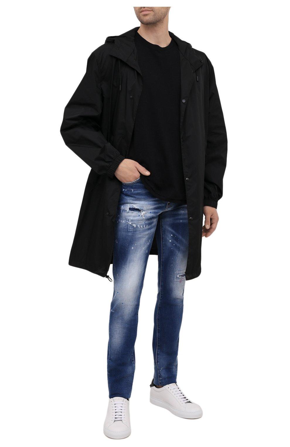 Мужские джинсы DSQUARED2 синего цвета, арт. S74LB1016/S30663   Фото 2 (Силуэт М (брюки): Узкие; Кросс-КТ: Деним; Длина (брюки, джинсы): Стандартные; Стили: Гранж; Материал внешний: Хлопок; Детали: Потертости)