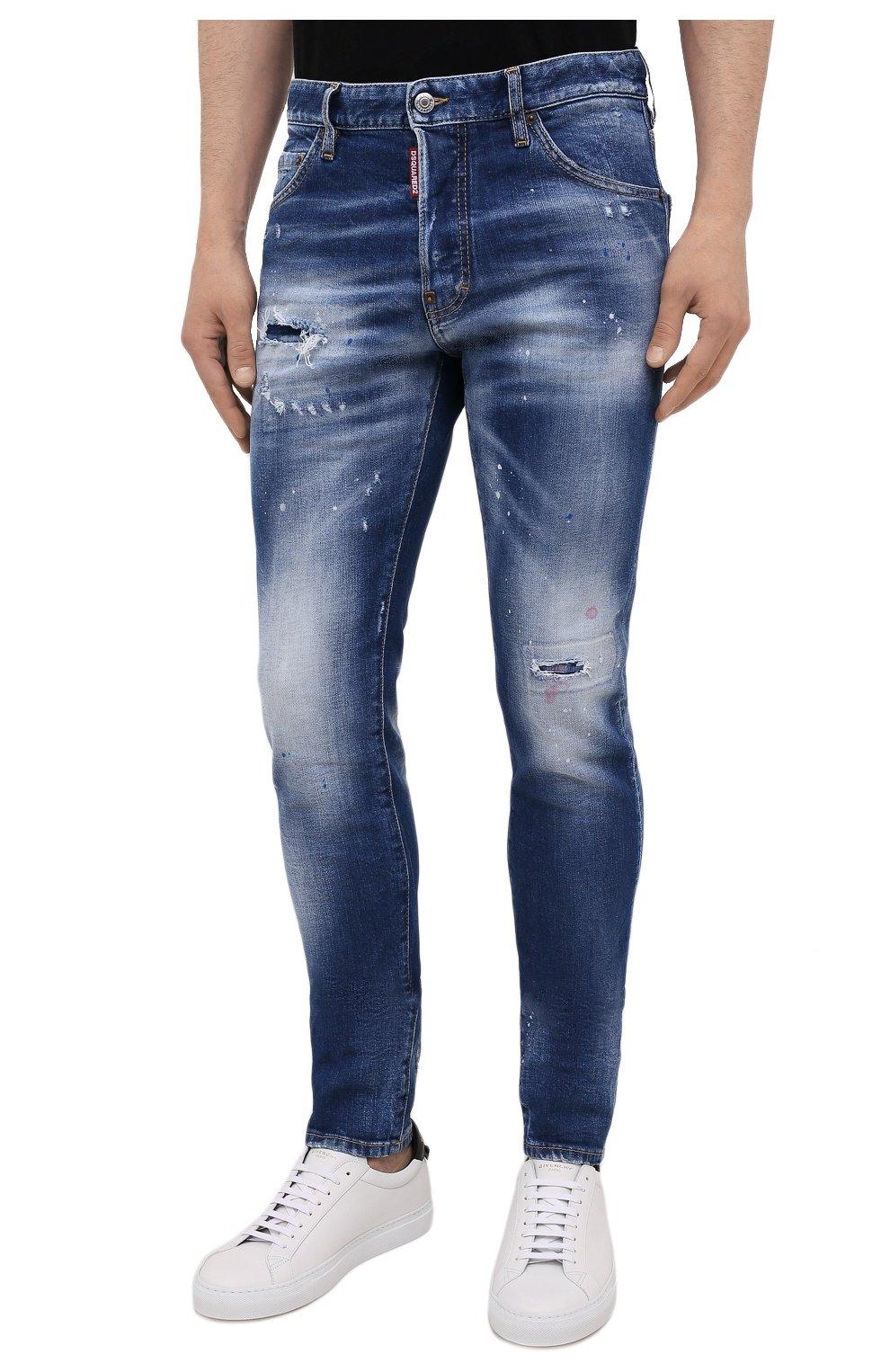 Мужские джинсы DSQUARED2 синего цвета, арт. S74LB1016/S30663   Фото 3 (Силуэт М (брюки): Узкие; Кросс-КТ: Деним; Длина (брюки, джинсы): Стандартные; Стили: Гранж; Материал внешний: Хлопок; Детали: Потертости)