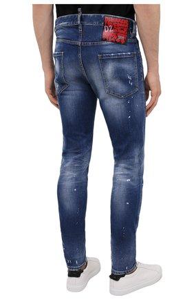 Мужские джинсы DSQUARED2 синего цвета, арт. S74LB1016/S30663   Фото 4 (Силуэт М (брюки): Узкие; Кросс-КТ: Деним; Длина (брюки, джинсы): Стандартные; Стили: Гранж; Материал внешний: Хлопок; Детали: Потертости)