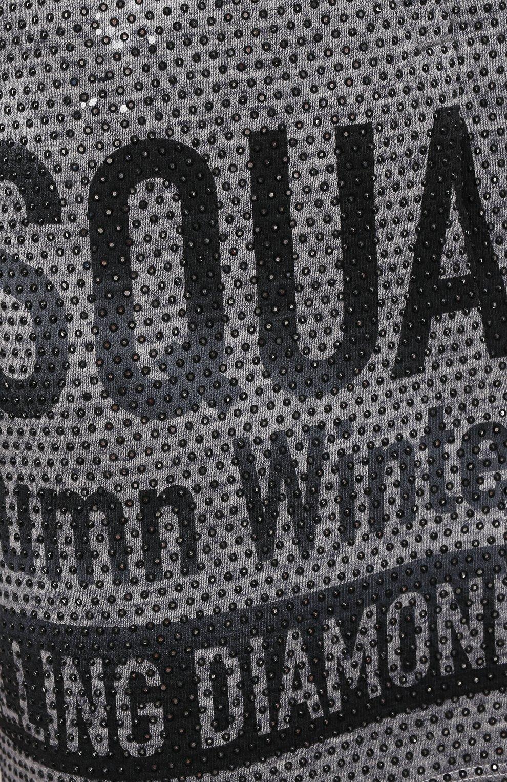Мужские хлопковые шорты DSQUARED2 серого цвета, арт. S74MU0676/S25477   Фото 5 (Длина Шорты М: До колена; Принт: С принтом; Кросс-КТ: Трикотаж; Материал внешний: Хлопок; Стили: Спорт-шик)