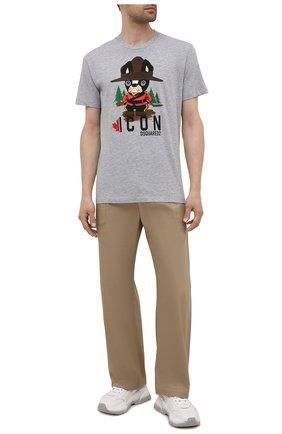 Мужская футболка из хлопка и вискозы DSQUARED2 серого цвета, арт. S79GC0034/S22146 | Фото 2
