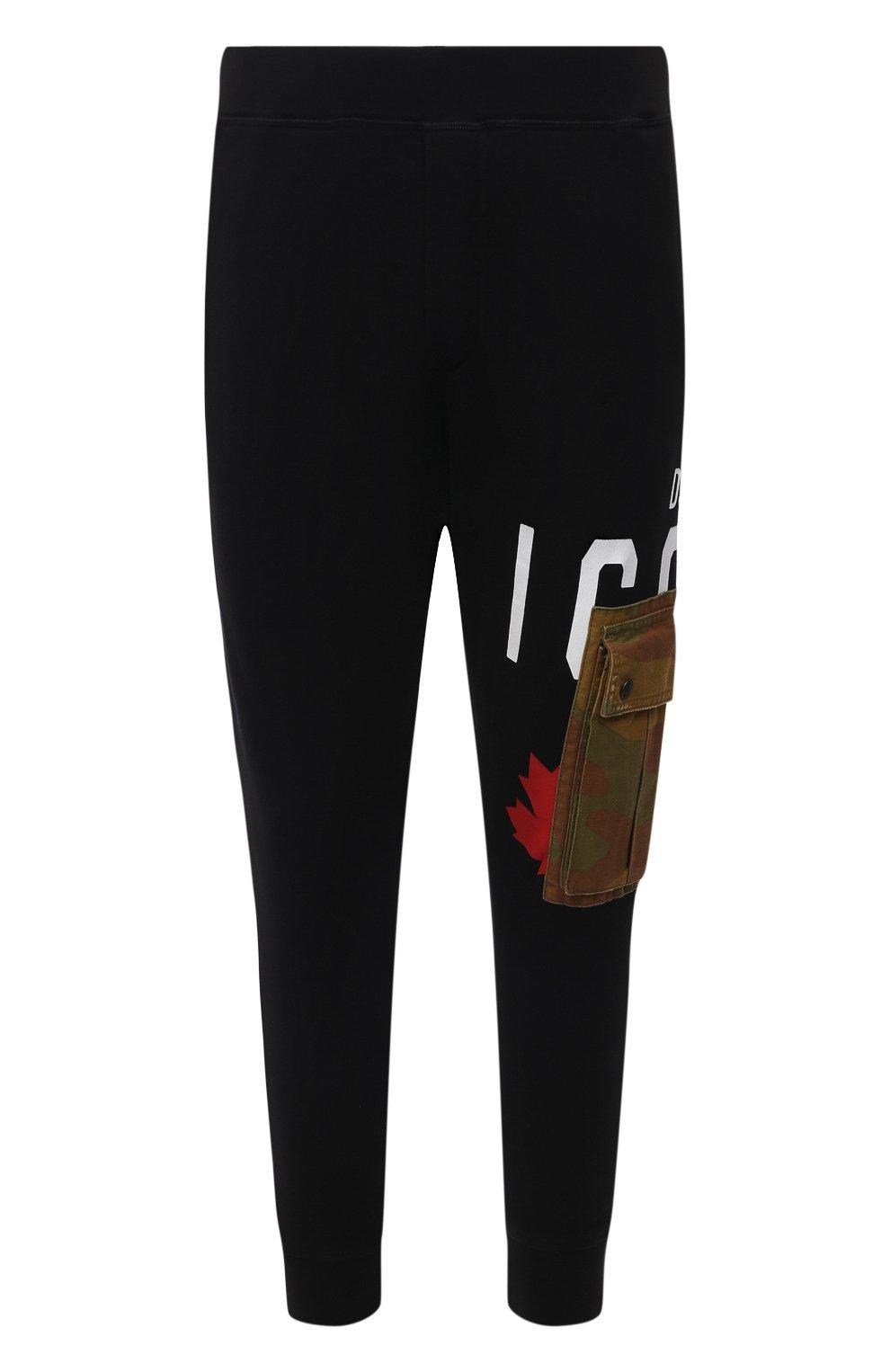 Мужские хлопковые джоггеры DSQUARED2 черного цвета, арт. S79KA0019/S25042 | Фото 1 (Мужское Кросс-КТ: Брюки-трикотаж; Длина (брюки, джинсы): Стандартные; Стили: Гранж, Спорт-шик; Материал внешний: Хлопок; Силуэт М (брюки): Джоггеры)
