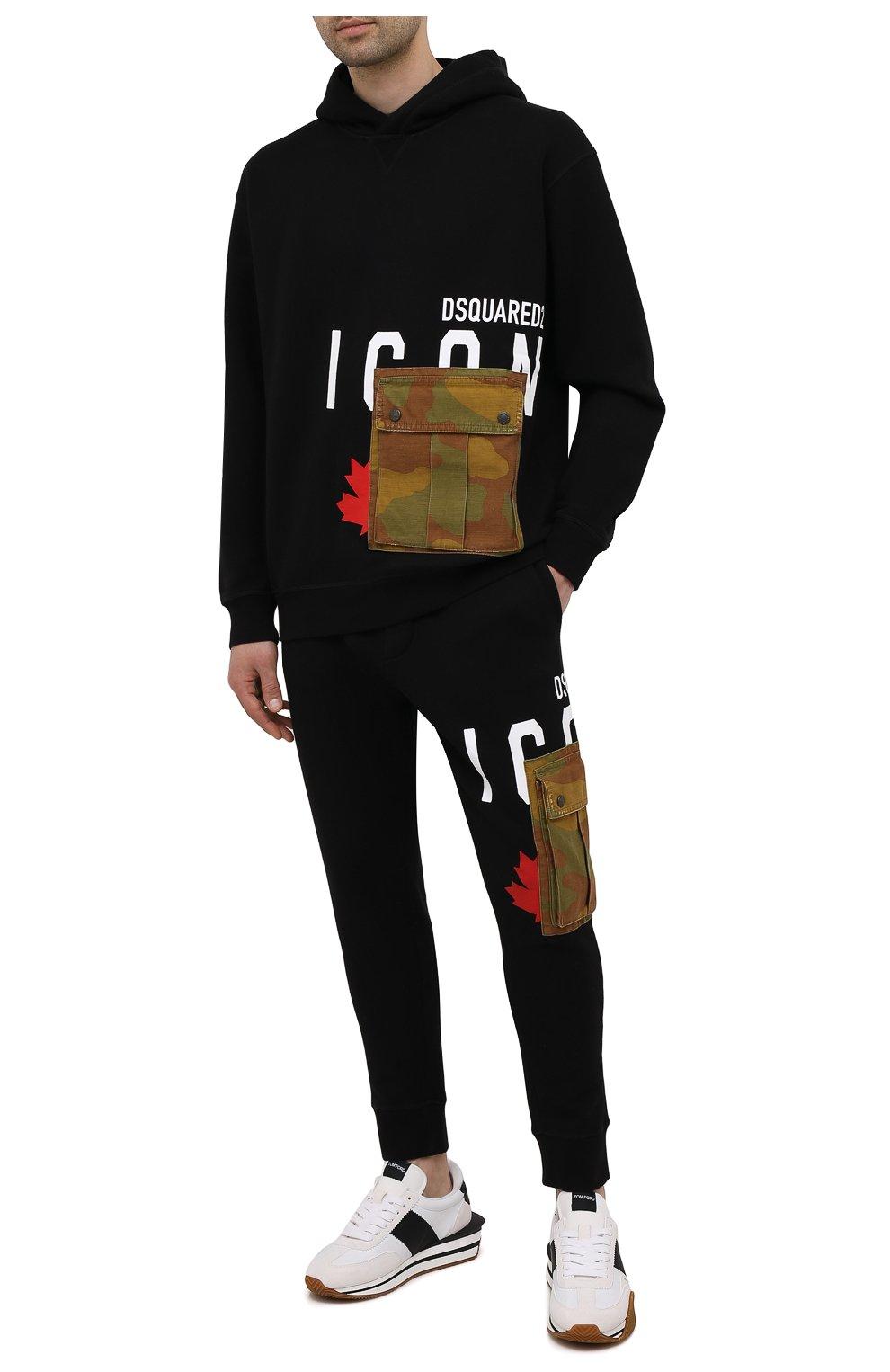 Мужские хлопковые джоггеры DSQUARED2 черного цвета, арт. S79KA0019/S25042 | Фото 2 (Мужское Кросс-КТ: Брюки-трикотаж; Длина (брюки, джинсы): Стандартные; Стили: Гранж, Спорт-шик; Материал внешний: Хлопок; Силуэт М (брюки): Джоггеры)