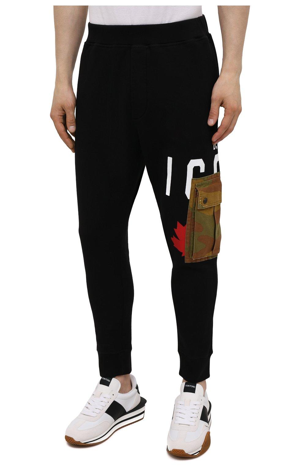Мужские хлопковые джоггеры DSQUARED2 черного цвета, арт. S79KA0019/S25042 | Фото 3 (Мужское Кросс-КТ: Брюки-трикотаж; Длина (брюки, джинсы): Стандартные; Стили: Гранж, Спорт-шик; Материал внешний: Хлопок; Силуэт М (брюки): Джоггеры)