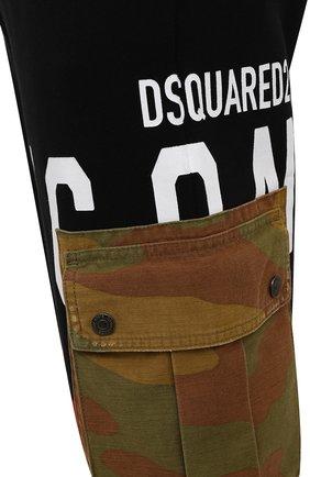 Мужские хлопковые джоггеры DSQUARED2 черного цвета, арт. S79KA0019/S25042 | Фото 5 (Мужское Кросс-КТ: Брюки-трикотаж; Длина (брюки, джинсы): Стандартные; Стили: Гранж, Спорт-шик; Материал внешний: Хлопок; Силуэт М (брюки): Джоггеры)
