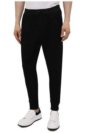 Мужские хлопковые джоггеры DSQUARED2 черного цвета, арт. S79KA0020/S25042 | Фото 3 (Мужское Кросс-КТ: Брюки-трикотаж; Длина (брюки, джинсы): Стандартные; Кросс-КТ: Спорт; Материал внешний: Хлопок; Стили: Спорт-шик; Силуэт М (брюки): Джоггеры)
