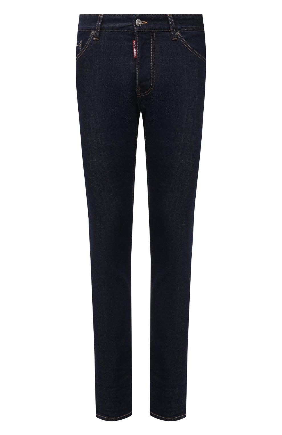 Мужские джинсы DSQUARED2 темно-синего цвета, арт. S79LA0035/S30595   Фото 1 (Силуэт М (брюки): Прямые; Кросс-КТ: Деним; Длина (брюки, джинсы): Стандартные; Стили: Гранж; Материал внешний: Хлопок)