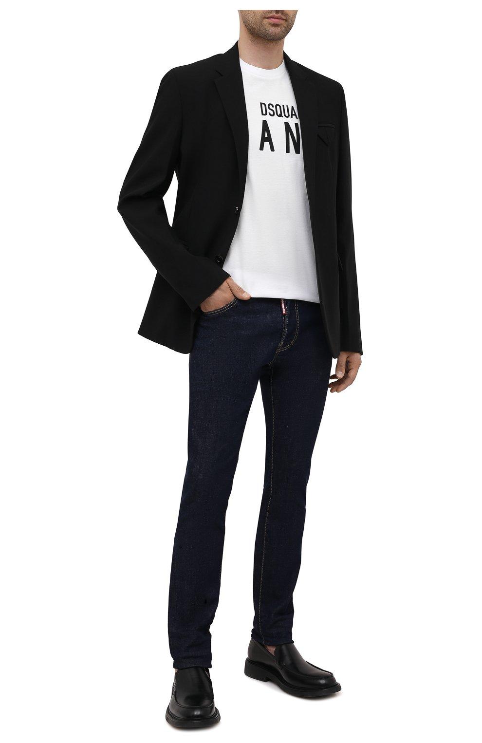Мужские джинсы DSQUARED2 темно-синего цвета, арт. S79LA0035/S30595   Фото 2 (Силуэт М (брюки): Прямые; Кросс-КТ: Деним; Длина (брюки, джинсы): Стандартные; Стили: Гранж; Материал внешний: Хлопок)