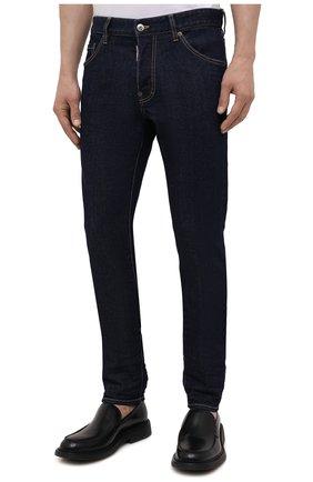 Мужские джинсы DSQUARED2 темно-синего цвета, арт. S79LA0035/S30595   Фото 3 (Силуэт М (брюки): Прямые; Кросс-КТ: Деним; Длина (брюки, джинсы): Стандартные; Стили: Гранж; Материал внешний: Хлопок)