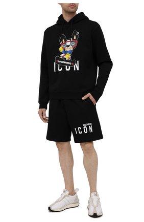 Мужские хлопковые шорты DSQUARED2 черного цвета, арт. S79MU0022/S25042 | Фото 2
