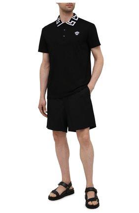 Мужское хлопковое поло VERSACE черного цвета, арт. A89492/A231240   Фото 2