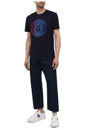 Мужская хлопковая футболка VERSACE темно-синего цвета, арт. A89287/1A01585 | Фото 2