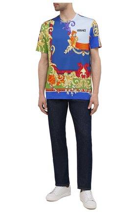 Мужская хлопковая футболка VERSACE разноцветного цвета, арт. A76113/1A01248 | Фото 2 (Материал внешний: Хлопок; Длина (для топов): Стандартные; Рукава: Короткие; Стили: Бохо; Принт: С принтом)