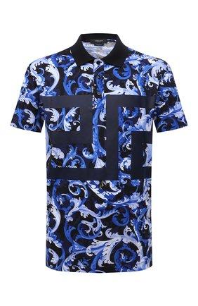Мужское хлопковое поло VERSACE синего цвета, арт. 1001555/1A01220 | Фото 1