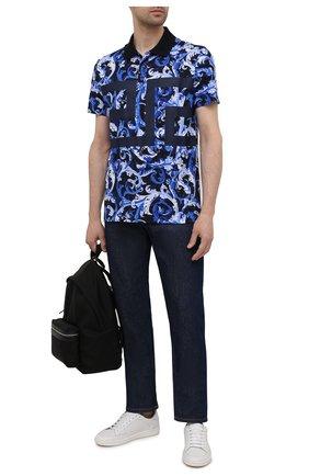 Мужское хлопковое поло VERSACE синего цвета, арт. 1001555/1A01220 | Фото 2