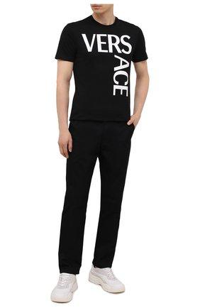 Мужская хлопковая футболка VERSACE черного цвета, арт. 1001288/1A00922   Фото 2