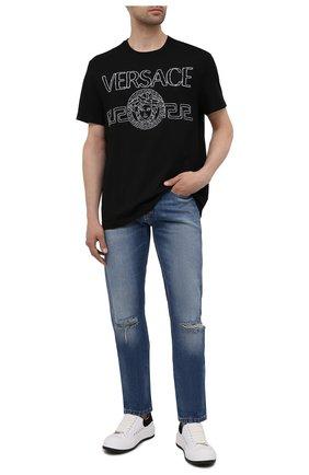 Мужская хлопковая футболка VERSACE черного цвета, арт. 1001280/1A00915   Фото 2