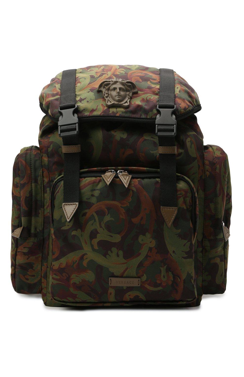 Мужской текстильный рюкзак VERSACE хаки цвета, арт. 1000733/1A00877 | Фото 1