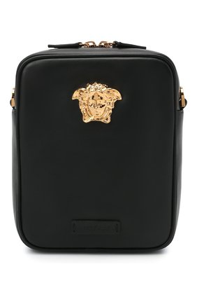 Мужская кожаная сумка VERSACE черного цвета, арт. 1000721/DVT8ME | Фото 1