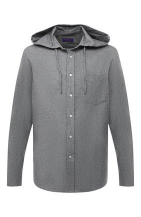 Мужская хлопковая рубашка RALPH LAUREN серого цвета, арт. 790844841 | Фото 1 (Длина (для топов): Стандартные; Рукава: Длинные; Материал внешний: Хлопок; Случай: Повседневный; Стили: Кэжуэл)