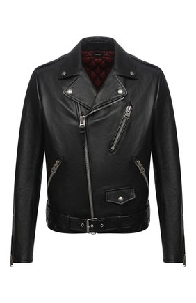 Мужская кожаная куртка TOM FORD черного цвета, арт. BY481/TFL629 | Фото 1 (Длина (верхняя одежда): Короткие; Материал подклада: Синтетический материал, Купро, Шелк; Рукава: Длинные; Мужское Кросс-КТ: Кожа и замша; Кросс-КТ: Куртка; Стили: Гранж)