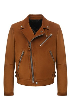 Мужская замшевая куртка TOM FORD коричневого цвета, арт. BY435/TFL828 | Фото 1 (Длина (верхняя одежда): Короткие; Мужское Кросс-КТ: Кожа и замша; Кросс-КТ: Куртка; Рукава: Длинные; Материал подклада: Купро; Стили: Гранж; Материал внешний: Замша)