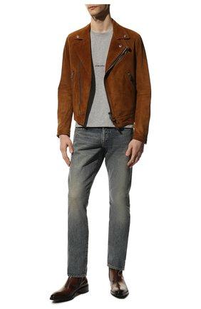 Мужская замшевая куртка TOM FORD коричневого цвета, арт. BY435/TFL828 | Фото 2 (Длина (верхняя одежда): Короткие; Мужское Кросс-КТ: Кожа и замша; Кросс-КТ: Куртка; Рукава: Длинные; Материал подклада: Купро; Стили: Гранж; Материал внешний: Замша)
