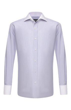 Мужская хлопковая сорочка TOM FORD голубого цвета, арт. 2FT702/94SWAX | Фото 1 (Рукава: Длинные; Длина (для топов): Стандартные; Материал внешний: Хлопок; Случай: Формальный; Принт: Полоска; Рубашки М: Regular Fit; Стили: Классический; Воротник: Акула; Манжеты: На пуговицах)