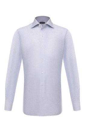 Мужская хлопковая сорочка TOM FORD голубого цвета, арт. 2FT211/94S3AX | Фото 1 (Длина (для топов): Стандартные; Рукава: Длинные; Материал внешний: Хлопок; Случай: Формальный; Рубашки М: Slim Fit; Стили: Классический)
