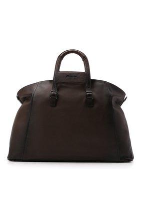 Мужская кожаная дорожная сумка SANTONI темно-коричневого цвета, арт. UIBBA2112DB-GGTQT50 | Фото 1 (Материал: Натуральная кожа; Ремень/цепочка: На ремешке)