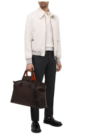 Мужская кожаная дорожная сумка SANTONI темно-коричневого цвета, арт. UIBBA2112DB-GGTQT50 | Фото 2 (Материал: Натуральная кожа; Ремень/цепочка: На ремешке)