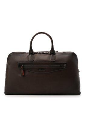 Мужская кожаная дорожная сумка SANTONI темно-коричневого цвета, арт. UIBBA2108LI-GGTQT50 | Фото 1 (Ремень/цепочка: На ремешке; Материал: Натуральная кожа)