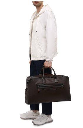 Мужская кожаная дорожная сумка SANTONI темно-коричневого цвета, арт. UIBBA2108LI-GGTQT50 | Фото 2 (Ремень/цепочка: На ремешке; Материал: Натуральная кожа)