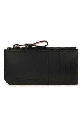 Мужской кожаный футляр для кредитных карт SANTONI черного цвета, арт. UFPPA2124F0-GRT0N01 | Фото 1