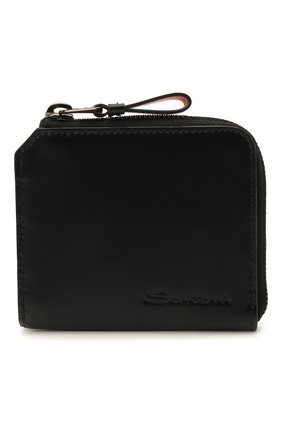 Мужской кожаный кошелек для монет SANTONI черного цвета, арт. UFPPA2123F0-GRT0N01 | Фото 1