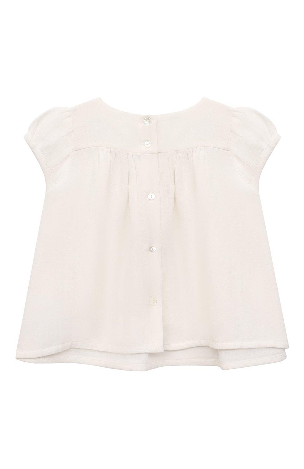 Детский хлопковый топ BONPOINT белого цвета, арт. S01XBLWO0702(002)_842855 | Фото 2 (Рукава: Короткие; Принт: С принтом; Материал внешний: Хлопок; Ростовка одежда: 9 мес | 74 см)