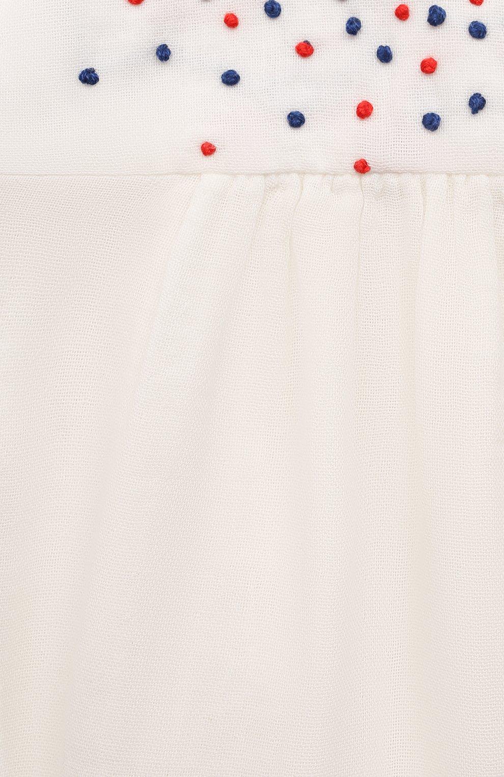 Детский хлопковый топ BONPOINT белого цвета, арт. S01XBLWO0702(002)_842855 | Фото 3 (Рукава: Короткие; Принт: С принтом; Материал внешний: Хлопок; Ростовка одежда: 9 мес | 74 см)