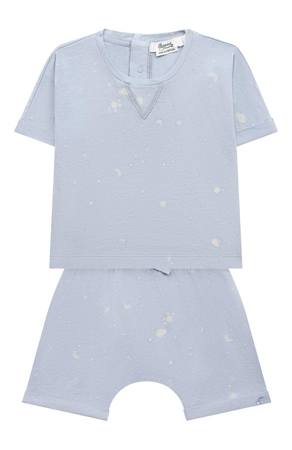 Детского комплект из футболки и шорт BONPOINT голубого цвета, арт. S01YSEKN0201(616)_843061   Фото 1 (Материал внешний: Хлопок; Ростовка одежда: 0 - 3 мес   50 - 60 см)
