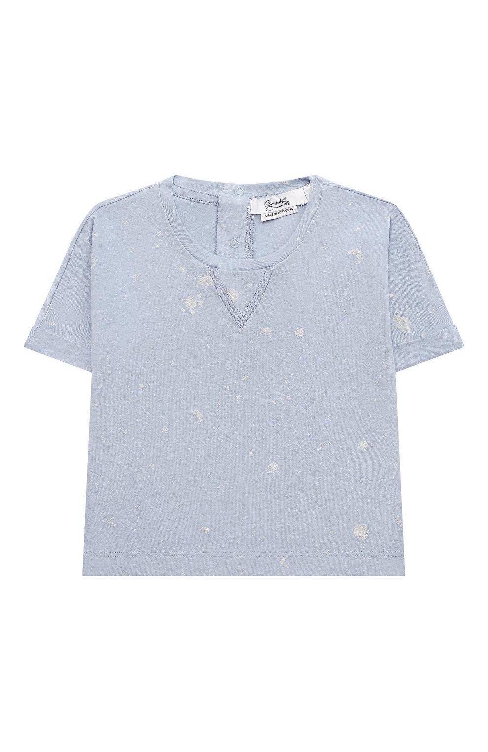 Детского комплект из футболки и шорт BONPOINT голубого цвета, арт. S01YSEKN0201(616)_843061   Фото 2 (Материал внешний: Хлопок; Ростовка одежда: 0 - 3 мес   50 - 60 см)