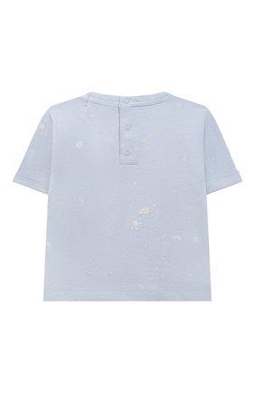 Детского комплект из футболки и шорт BONPOINT голубого цвета, арт. S01YSEKN0201(616)_843061   Фото 3 (Материал внешний: Хлопок; Ростовка одежда: 0 - 3 мес   50 - 60 см)