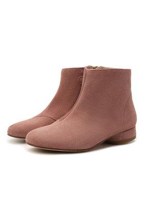 Детские замшевые ботинки BONPOINT розового цвета, арт. H20EFCANDY(020)_825022   Фото 1