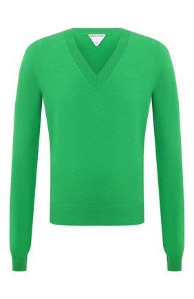 Мужской шерстяной пуловер BOTTEGA VENETA зеленого цвета, арт. 668702/V0ZY0 | Фото 1 (Материал внешний: Шерсть; Мужское Кросс-КТ: Пуловеры; Рукава: Длинные; Принт: Без принта; Стили: Минимализм; Длина (для топов): Стандартные; Вырез: V-образный)