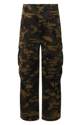 Мужские хлопковые брюки-карго BALENCIAGA хаки цвета, арт. 658907/TKL14 | Фото 1 (Стили: Милитари; Случай: Повседневный; Длина (брюки, джинсы): Стандартные; Материал внешний: Хлопок; Силуэт М (брюки): Карго)