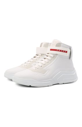 Мужские кожаные кроссовки polarius 19 lr PRADA белого цвета, арт. 4T3535-HEC-F0009 | Фото 1