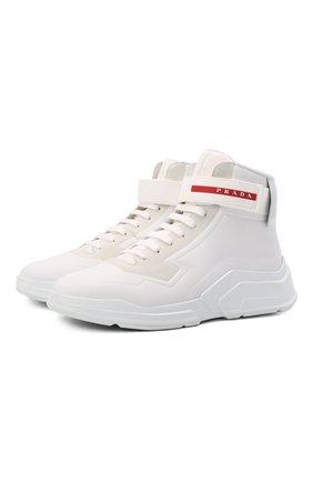 Мужские кожаные кроссовки polarius 19 lr PRADA белого цвета, арт. 4T3535-HEC-F0009 | Фото 1 (Подошва: Массивная; Стили: Гранж)