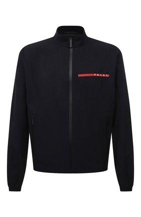 Мужская куртка PRADA черного цвета, арт. SGB452-1T2Z-F0002-201 | Фото 1 (Длина (верхняя одежда): Короткие; Материал внешний: Синтетический материал; Рукава: Длинные; Кросс-КТ: Куртка, Ветровка; Стили: Кэжуэл)