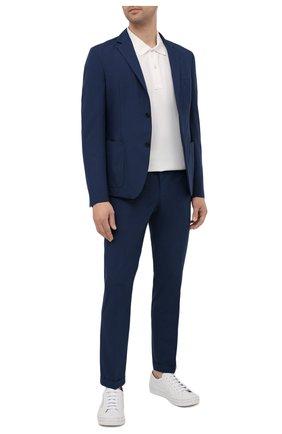 Мужские брюки PRADA синего цвета, арт. SPD91-1S5X-F0216-172 | Фото 2 (Материал внешний: Синтетический материал; Длина (брюки, джинсы): Стандартные; Случай: Повседневный; Стили: Кэжуэл)